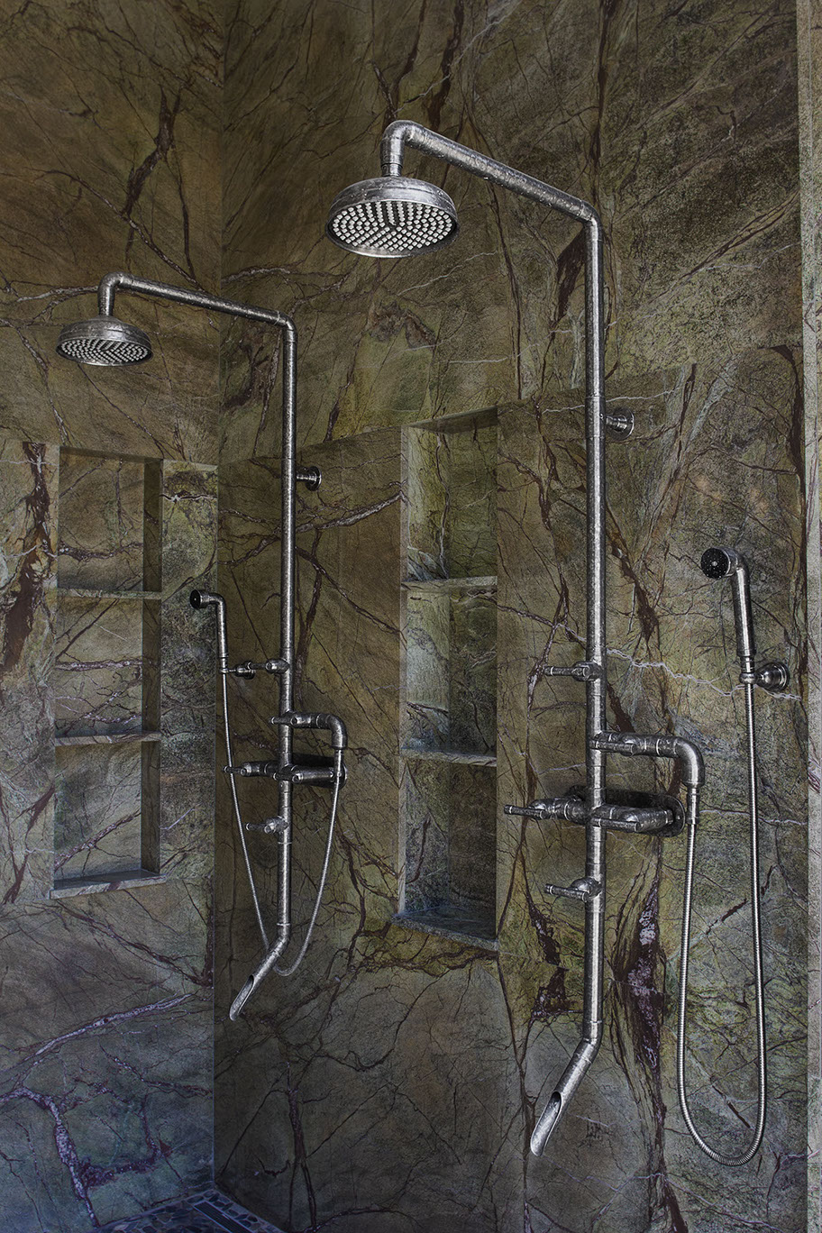 exposed pipe shower . WB SHW 840 Pressure Balanced In Rustic Nickel Luxury Designer Showers And Faucets From Sonoma Forge  WaterBridge